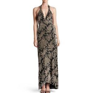Erica Floral Velvet Wrap Gown